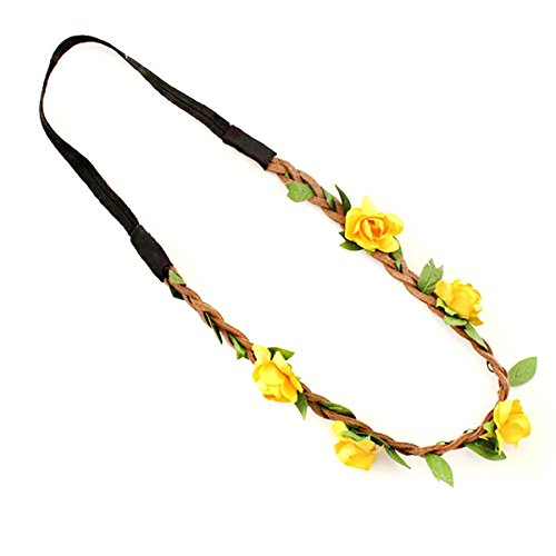 Butterme Damen Mädchen Rose Blumen-Stirnband Hochzeit Haarkranz Blumenkrone Festival Hochzeit Haarband Kopfband Haarkranz BOHO Blumenstirnband (Gelb)