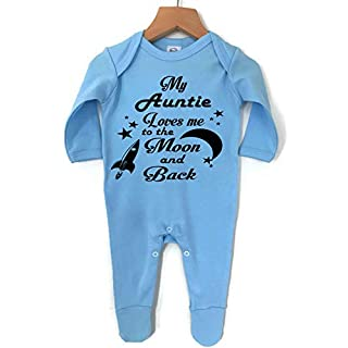 My Auntie Loves Me to The Moon and Back Boys Girls Sleepsuit Vest 100% Cotton, Made in England. (Blue, 3-6 Months)