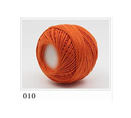KenFandy 1Pc 50G Spitze Garn Baumwolle Garn zum Häkeln Feiner Kammgarn, 010 orange -