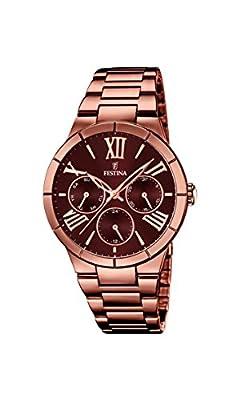 Festina F16798/2 - Reloj de pulsera mujer, acero inoxidable chapado, color marrón de Festina