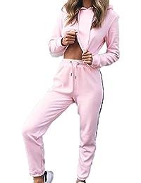 Babysbreath 2 Pcs Women Sportswear Set Hoodies Cultivar Top Pantalones Largos Set Casual Tracksuit Sporting Suit Sportsuit Rosado XL