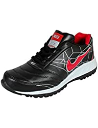 BNG Synthetic Leather Sports Shoes bk-red (ES-16)