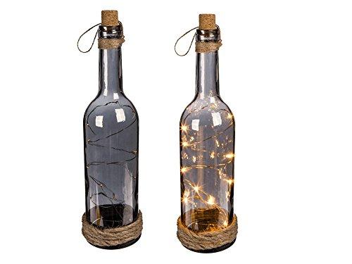 OOTB Botella de Cristal Ahumado con 10 Luces LED Blancas, tapón de Co