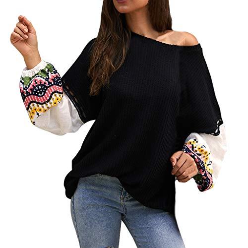 GOKOMO Gestickter Strickpullover Frauen-Stickerei-Oansatz-Aufflackern-Hülsen-Strickjacke übersteigt Bloues T-Shirt(Schwarz,Medium) -