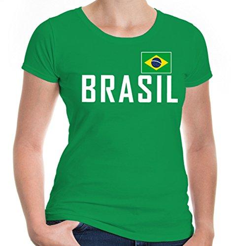e T-Shirt Brasilien | Brasil Brazil Amerika Ländershirt Fanshirt Flagge Trikot Reise | M, Grün (Cop Outfit Zu Halloween)