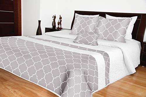 Rodnik Luxus Tagesdecke Bettüberwurf Wien 3 TLG. Set Bettdecke mit 2 Kissenhüllen Grau mit Muster. Unterschiedliche Größen. Dazu passend Gardinen in Grau (240 x 260 cm) (Bettdecke Bettüberwurf Set)