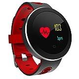 CCYOO Q8 Pro Smart Orologio Da Polso Blood Pressure Monitor Della Frequenza Cardiaca Braccialetto Sportivo Intelligente Da Polso Impermeabile Tracking Watch Band Da Polso,Red