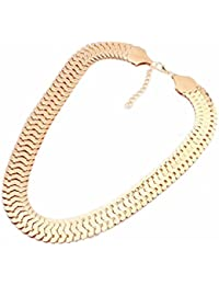 Fashion Goldig Silbrig Legierung Curb Chain Collier Bib Punk Halskette