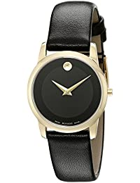 Movado Women's Museum Classic 28mm Black Leather Band Gold Plated Case Swiss Quartz Analog Watch 0606877