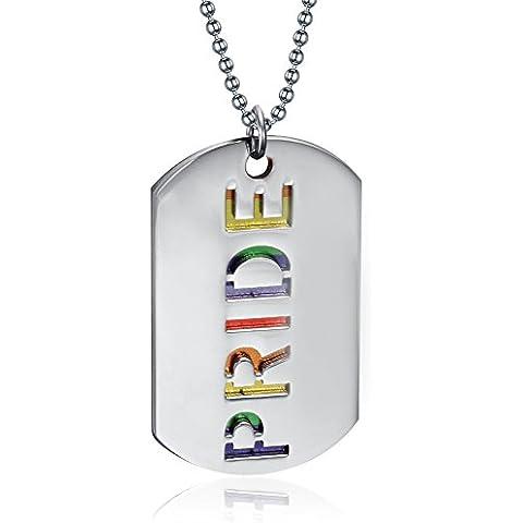 LianDuo Gay Lesbiche LGBT doppio dell'acciaio inossidabile Dog Tag PRIDE collana del pendente Orgoglio inciso Arcobaleno,la catena libera