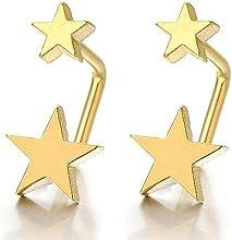 2 Oro Estrella Forma de U Pendientes del Aro, Pendientes para Mujer Ninas, Acero Inoxidable