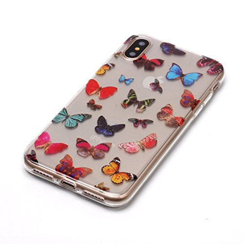 Per iPhone X Cover , YIGA Piume colorate Cristallo Trasparente Silicone Morbido TPU Case Shell Caso Protezione Custodia per Apple iPhone X (5,8 pollici) XS74