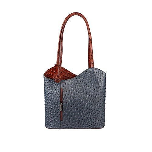OBC Made in Italy Ledertasche Damentasche 2in1 Handtasche Rucksack Umhängetasche Schultertasche Tablet/Ipad mini bis ca. 10-12 Zoll 27x29x8 cm (BxHxT) (Rot (Strauß)) Dunkelgrau-Cognac (Strauß)
