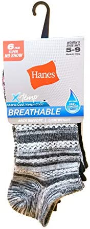 Hanes Women's 4B1/6 X-Temp Comfort Fit Ankle Athletic Socks (Pack of 6), Size