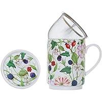 La Cija Madreselva - Tisana de Porcelana con Filtro de Acero Inoxidable, Color Blanco