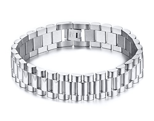 Vnox bracciale a maglie in acciaio inossidabile 15 mm con bracciale daily da portare a regalo da uomo, 22,5 cm, per uomo