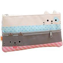 Leisial Creativo Bolsa para Lápices Estuche de lápices Cat con Cremallera Estuche de Lápices Estuches Lápices para Niñas Estudiantes
