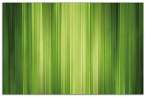 Wallario Herdabdeckplatte/Spritzschutz aus Glas, 1-teilig, 80x52cm, für Ceran- und Induktionsherde, Motiv Grün und schwarz gestreift - Abstraktes Streifenmuster