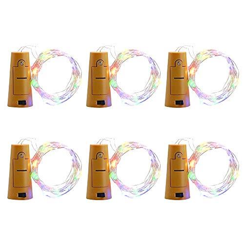 ien Flasche Kork Lichter geformt LEDs Micro Lichterketten Kupferdraht Sternenlichter für Flasche DIY Dekor Halloween Geburtstag Party Weihnachten, Packung mit 6 (Multi-Color) für P ()