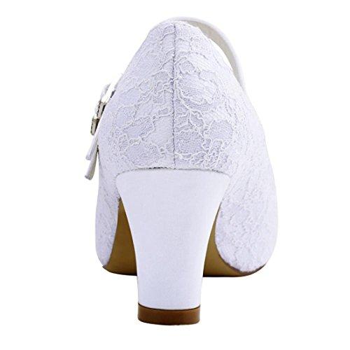 Minitoo MinitooUK-MZ8208, Escarpins Pour Femme White-5cm Heel