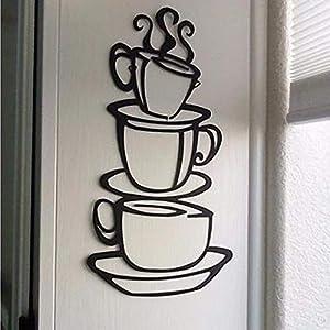 EERTX Adesivo da Parete Silhouette Tazza da caffè Wall Sticker Smontabile Vinile Decorativo DIY Wall Sticker Soggiorno…