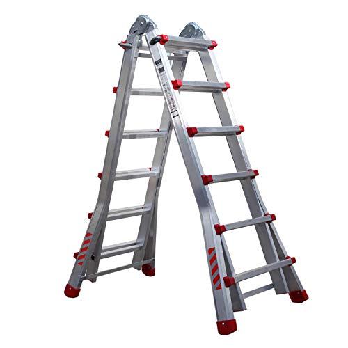 Nawa Escalera telescópica plegable profesional de aluminio 6+5 Peldaños, Carga máxima 150 kg, Hecho...