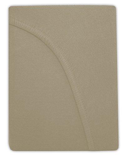 Farbenfrohes Jersey Spannbettlaken Spannbetttuch Bettlaken aus hautsympathischer 100% Baumwolle (120 x 200 cm, Sand / Cappuccino) - 2