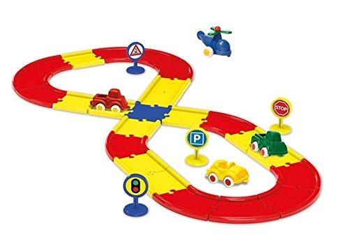 Viking Toys - V45514 - Figurine - Transport et Circulation - Baril Carton - 24 Routes + 4 Voitures + 4 Panneaux