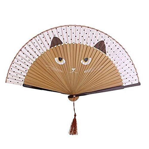Browns Fan Kostüm - Lcxghs Faltfächer Handfächer Sommer Seide Bambus Faltfächer Hand Blume Backlack Griff Fan (Color : Brown)