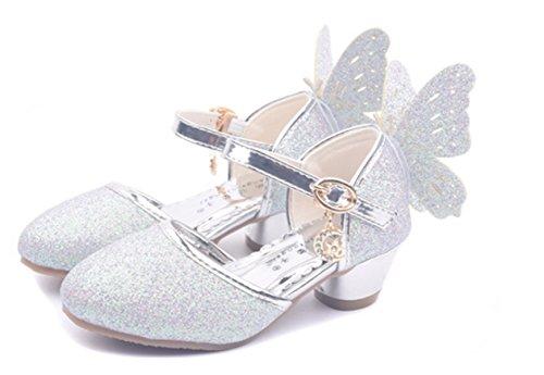 YOGLY Niñas Zapatos de Tacón Princesa Fiesta Sandalias para Niñas, Brillante Princesa Zapatillas...