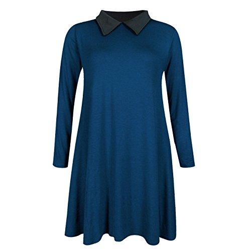 Damen Aufgeweitet Swing Langärmlig Peter Pan Coller Kleid Top SZ 822  Blaugrün