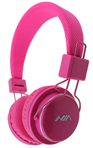 U-009 Foldable Wireless Bluetooth Earphone Headset with Microphone, Micro SD/TF Card, FM Radio,3.5mm Detachable Cable Stereo Hands-Free for Mobile Phone, Tablet, PC, Notebook, Gaming (Pink)