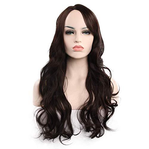 ZHZLX-wig PerüCke Weibliche Lange Welle Synthetische PerüCke Cosplay Prinzessin NatüRliche Frisur Mit HitzebestäNdige High-Density TäGlichen Haarschmuck Dunkelbraun 65 cm (26 ()