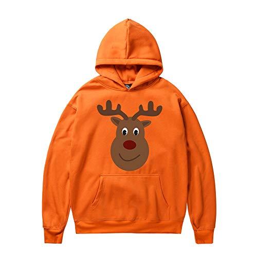 SEWORLD Weihnachten Christmas Herren Herbst Winter Männer Frau Weihnachten Rentier Drucken Langarm Kapuzenpulli Tops Bluse(X2-orange,EU-48/CN-M)