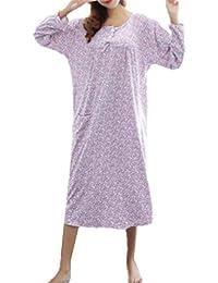 b03f457f943b Aivosen Donna Gravidanza Camicia da Notte Negligee Vestito Taglie Forti A  Righe Abito da Notte Stampa