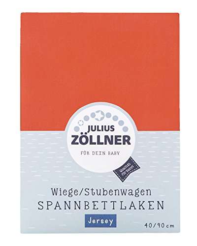 Julius Zöllner 8330047710 Jersey Spannbetttuch für Wiegen 90x40 und Stubenwagen, Farbe: koralle