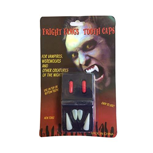 BESTOYARD Dientes de Vampiro de plástico Colmillos de Vampiro Dentaduras Fiesta de Halloween favores Cosplay Prop Decoración Terror Dientes de Miedo (4 dentaduras + 2 Pastillas de Sangre)