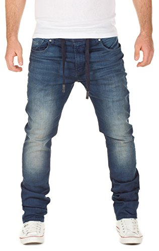 Denim Co (WOTEGA Herren Jeans - Sweathose in Jeansoptik Noah - slim... Blau (Dress Blues 3R4024), W33/L32)
