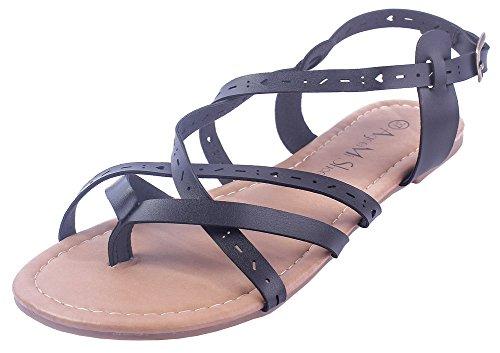 AgeeMi Shoes Damen Getrennt Zehe PU Rein ohne Absatz Sandalen,EuL27 Schwarz  40 098128b8db