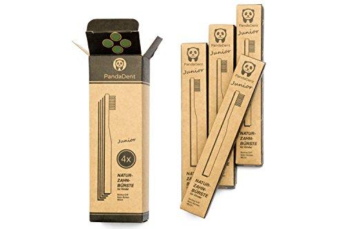 Weiche Bambus-Zahnbürste für Kinder | 4er Pack GRÜN | Für eine schönere und bessere Welt! - 3