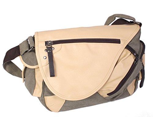 Preisvergleich Produktbild KISS GOLD Messenger bag Schultasche Umhängetasche Freizeittasche 23 Liter dunkel Khaki