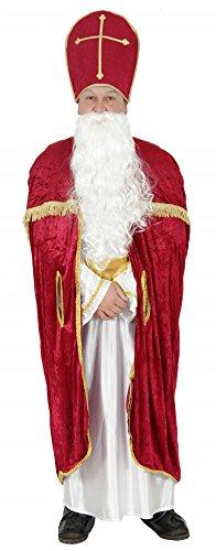 Foxxeo 40005 | Bischofsrobe Robe Bischof Kirche Weihnachtsmann Kostüm Weihnachtsmann Kirche Gr. M - XXL, Größe:XXL