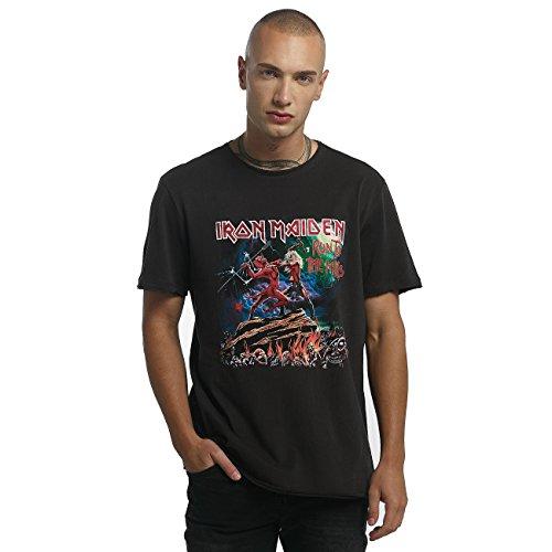Amplified Herren Oberteile/T-Shirt Iron Maiden Run to The Hills Schwarz