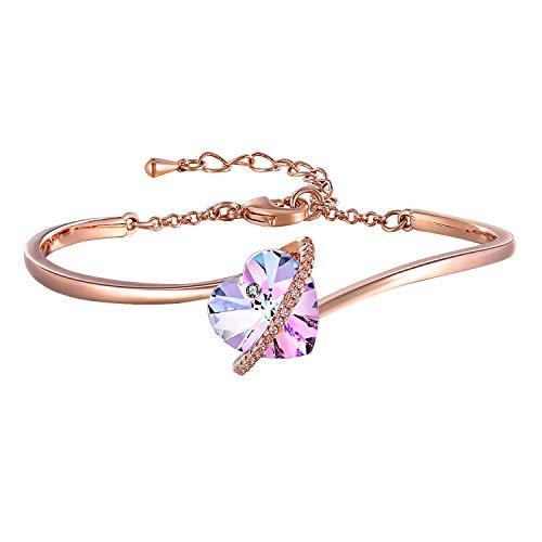 8b3024dfcbe9 7 Pulgadas Pulseras de Corazón Azul Púrpura Ajustable para Mujer Brazalete  Pulseras de Oro Rosa con