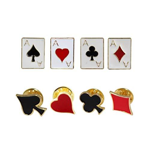 Fenical Joker Brosche Abzeichen Spaß Herz Platz Karten Kragen Pin Kragen 8PC (zufällige Art)