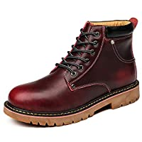 H-Mastery Leather Boots Mens Winter Fur Lined Waterproof Martin Ankle Casual Boots(Red,Size 9UK)
