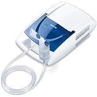 Beurer IH21 - Nebulizador para la inhalación de medicamentos líquidos con tecnología de aire comprimido, accesorio para nariz y compartimento, color blanco y azul, 30 x 18 x 10 cm, 1.65 kg
