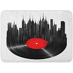 Paillassons Tapis de Bain Extérieur/Intérieur Porte Tapis Disque Vinyle Ville Musique Platine Jazz Construction Son Salle De Bains Décor Tapis De Bain