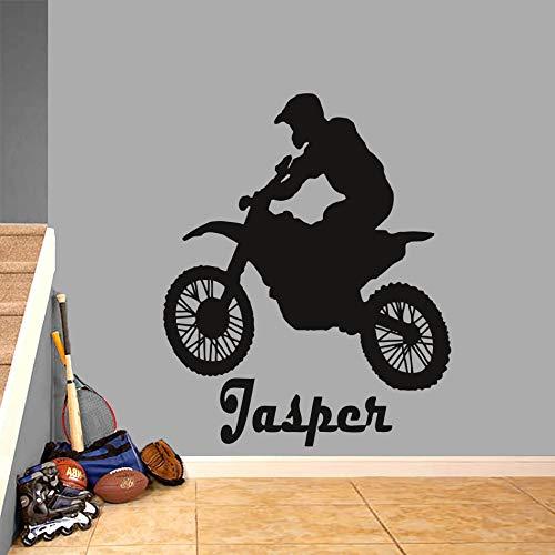 Geiqianjiumai Motorrad Sport Mann Wand Vinyl wandaufkleber Junge Schlafzimmer Dekoration Benutzerdefinierten Namen motorisierte Wand Meer 40.8 cm x 50.4 cm