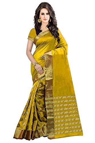Perfectblue Women's cotton Silk Saree With Blouse Piece (YellowGoli)